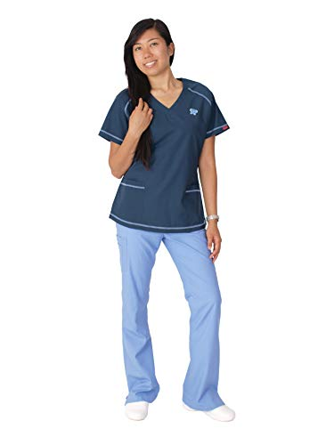 (Reina 1927 Raglan Sleeve V-Neck top with Butterfly and Cargo Pants Scrub Set (S Petite, Navy/Ceil))