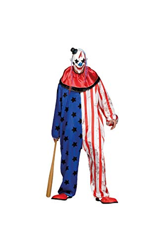 Fun World Men's Evil Circus Clown Adult Costume, Multi, Standard