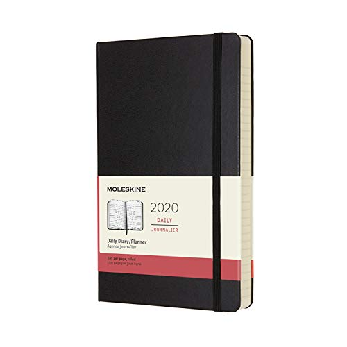 Moleskine Classic 12 Month 2020 Daily Planner, Hard Cover, Large (5' x 8.25') Black