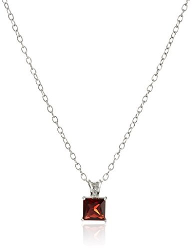 Sterling Silver with Garnet Pendant Necklace (Pendant Garnet Square)