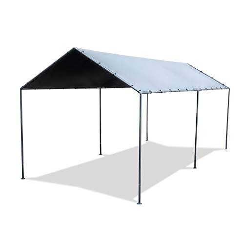 Abba Patio 10 x 20-Feet Light Portable Canopy with 6 Steel Legs, Silver & Black