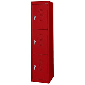 "Sandusky Lee LF33151866-01 Red Steel Powder Coat 3 Tier Welded Storage Locker, 66"" Height x 15"" Width x 18"" Depth, 3 Shelves"