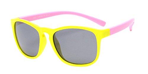 XFentech Unisexe Enfants Polarisées Lunettes de Soleil pour Garçons & Filles Monture en caoutchouc flexible Lunettes Jaune/Rose