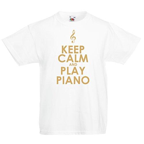 lepni.me Camisas para niños Play Piano - Citas del músico (12-13 Years Blanco Oro)
