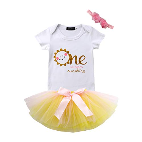 Baby Girl's 1ST Birthday Set Outfits with Smile Sun Romper + Bow Tutu Lace +3D Flower Headband (White Yellow, 9-18 -