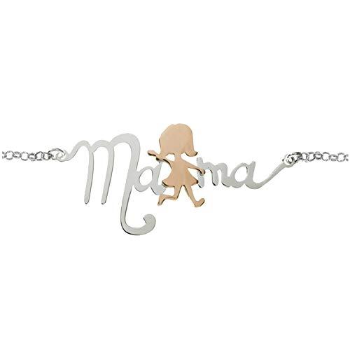 Collar Mam/á de Plata de Ley con detalle en Oro Rosa Colgante D/ía de la Madre plata