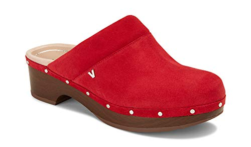 Vionic Women's Day Kacie Clog - Ladies Slip-on Mule with Concealed Orthotic Arch Support Cherry Suede 11 M - Comfort Clogs Red