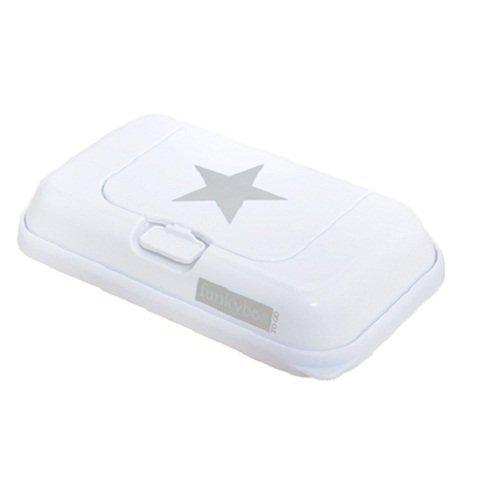 Funkybox - Pequeña cajita para toallitas húmedas - Blanco con gris estrella FBTG07