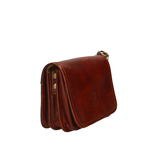de Italy bolso cm genuina de en in Organizador Chicca Made Borse Marrón Pequeño 20x15x9 hombro Piel maletines xfFEBO