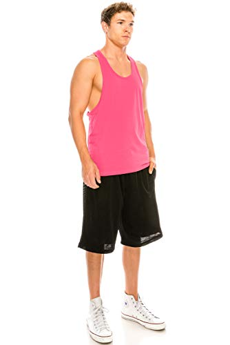 Hd Tank - JC DISTRO Unisex Workout Deep Cut Racer Back Muscle Fuschia Tank Top XSmall