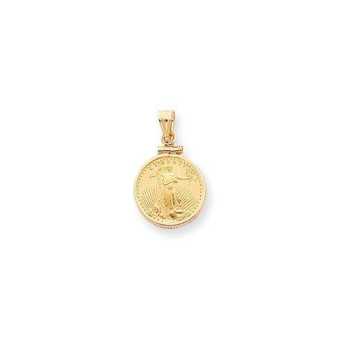Roy Rose Jewelry 14k Yellow Gold Polished Screw Top 1 American Eagle Coin Bezel Pendant by Roy Rose Jewelry (Image #2)