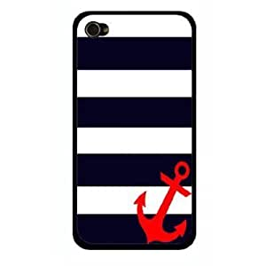 Stripes Sailor Red Anchor Snap-On Cover Carrying Case for iPhone 4/4S - Sea Life Captain (Black)
