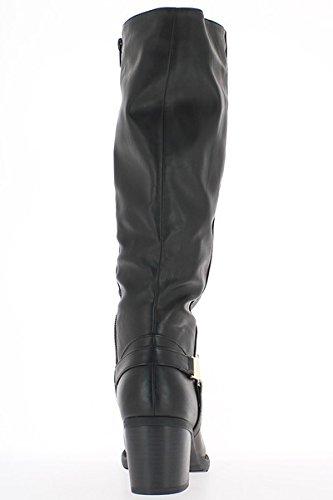 Stivali nero donne raddoppiate a tacco 6,5 cm