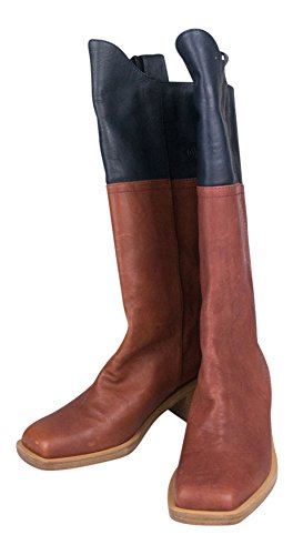 Chanel 14A Brown Navy Blue Leather Square Toe High Boots 5.5 Italy by CHANEL