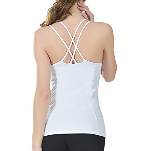 TONSEE Blouse, Women Fashion 2019, Casual Sports Yoga Fitness Workout Sleeveless Tops Solid O-Neck T-Shirt White