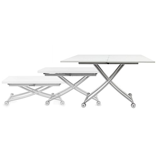 Corner Housewares Modern Multi-Purpose Dining Room Wheeled Transforming Adjustable Expanding X Lift Coffee and Dining Table, White Finish (Coffee Tables That Convert Into Dining Room Tables)