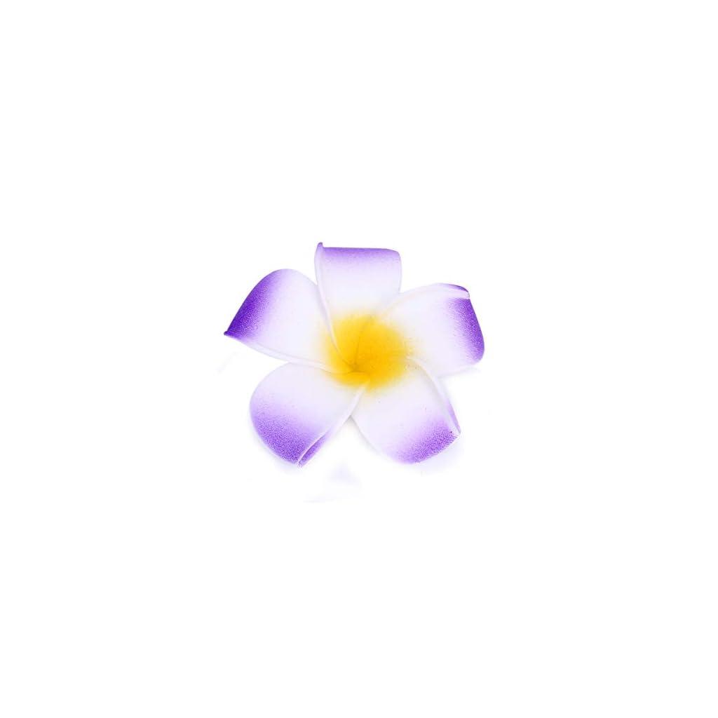 Sealike 100 Pcs Diameter 1.6 Inch Artificial Plumeria Rubra Hawaiian Flower Petals for Wedding Party Decoration with Stylus Purple