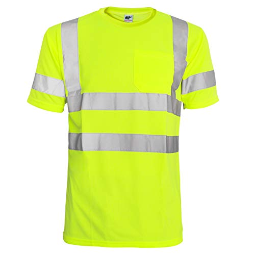 About Motorcycles T-shirt - L&M Hi Vis T Shirt ANSI Class 3 Reflective Safety Lime Short Sleeve HIGH Visibility (M)