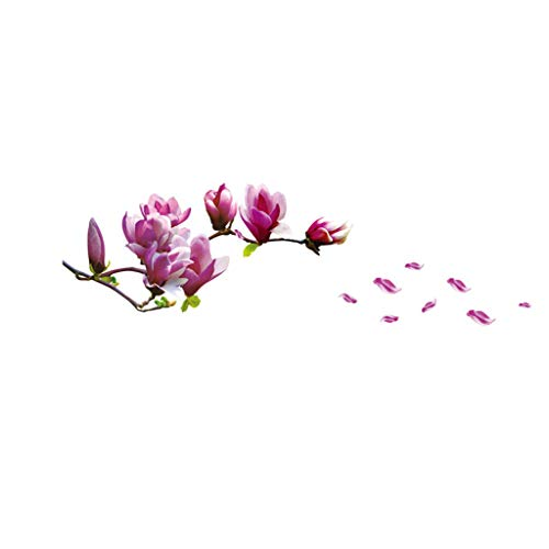 Garish  Beautiful Magnolia Flower Print Wall Sticket,Removable Bed Room Wallpaper, Decal Floral Wallpaper