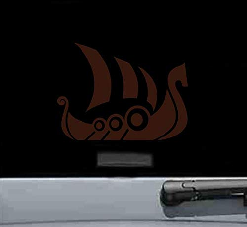 JS Artworks Drakkar Viking Transport Ship Vinyl Decal Sticker Chocolate Brown -