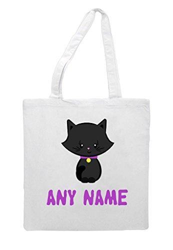 Halloween Shopper Name Bag Tote Custom White Any Cat Personalised Five qwPxXS4p