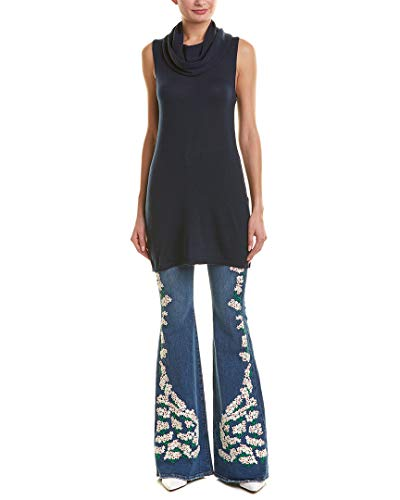 alice + olivia Womens Sharron Wool & Cashmere-Blend Tunic Tank, Xs, Blue