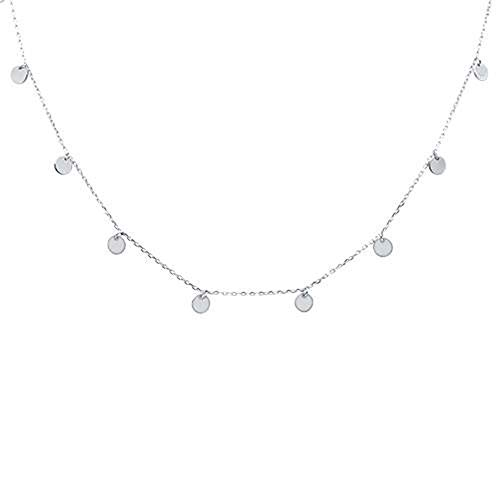 Oxford Diamond Co Sterling Silver Plain Hammered Disc Necklace