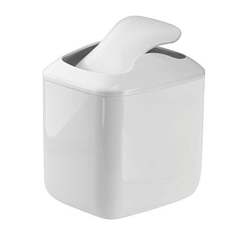 small white wastebasket waste basket trash can garbage bin lid bathroom kitchen ebay. Black Bedroom Furniture Sets. Home Design Ideas