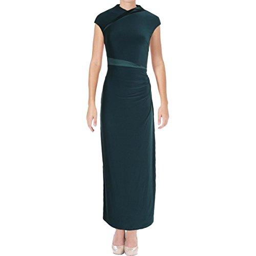 Lauren Ralph Lauren Womens Petites Lita Satin Trim Jersey Evening Dress Green (Ralph Lauren Silk Dress)