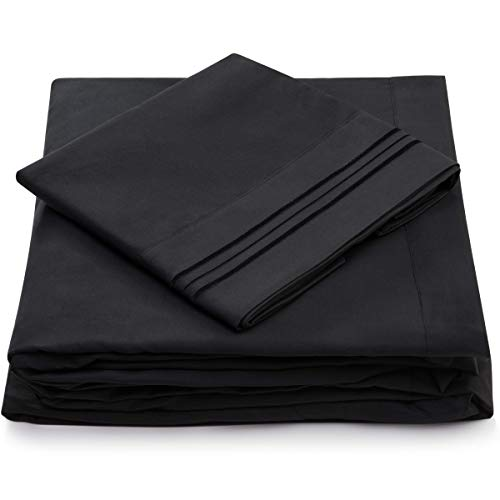 Cosy House Collection Twin Size Bed Sheets - Black Luxury Sheet Set - Deep Pocket - Super Soft Hotel Bedding - Cool & Wrinkle Free - 1 Fitted, 1 Flat, 1 Pillow Case - Twin Sheets - 3 Piece ()