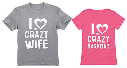 Funny Husband & Wife Couples Gift Anniversary/Newlywed Matching Set T-Shirts Man Gray Large/Woman Pink Medium (Best Shirts For Marriage)
