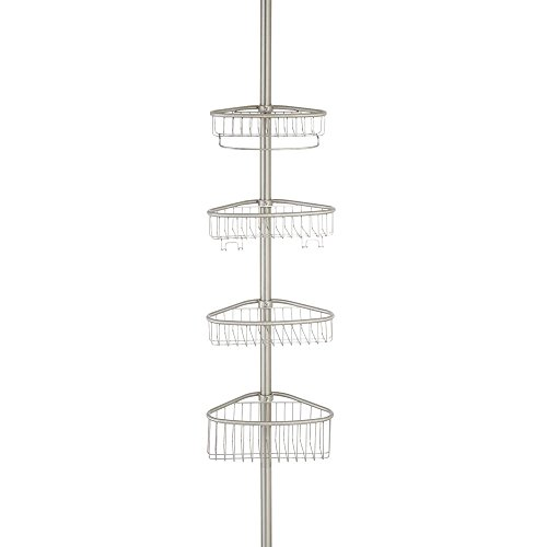 InterDesign Forma Bathroom Constant Tension Corner Shower Caddy for Shampoo, Conditioner, Soap - Brushed Stainless Steel by InterDesign