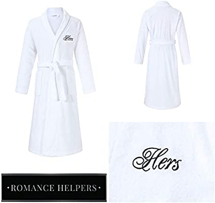 Amazon.com  Romance Helpers His and Hers Terry Cotton Bath Spa Robes ... 923aa3946