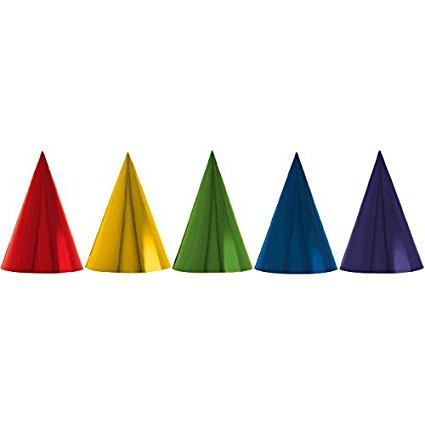 Fun Rainbow Birthday Party Foil Cone Hats, Pack of 24, Multi , 7'' Foil