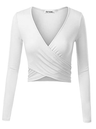 - VETIOR Women's Deep V Neck Long Sleeve Unique Cross Wrap Slim Fit Crop Tops Medium White