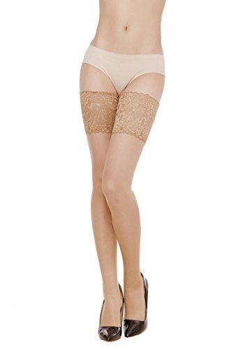 Women's Lace Top Sheer Thigh High Silky reflection Stockings-beigequeen (Lace Thigh High Tights)