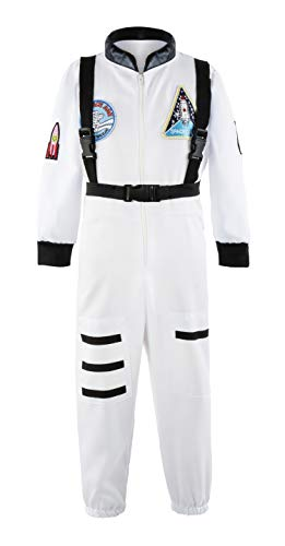 Padete Boys Children Astronaut Role Play Costume Kids Halloween Dress Up (5-6 Years, White) ()