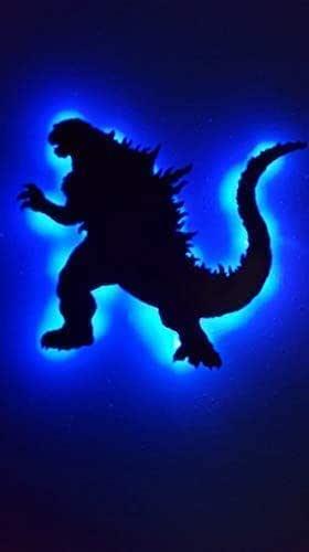 Personalized reptile light wall hanging gigantis dagon Godzilla Wood Led sign Handmade