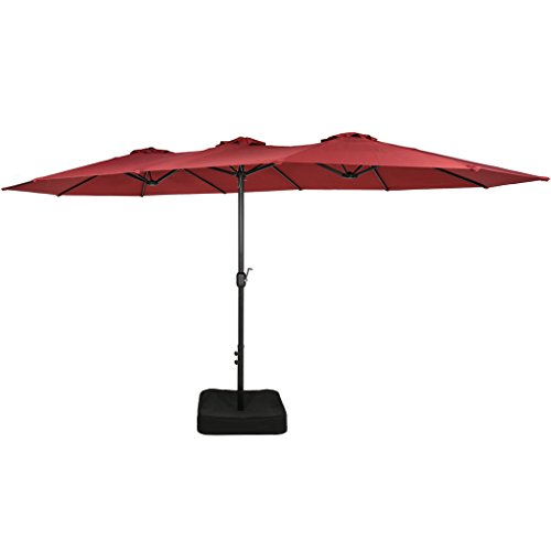 Iwicker 15 Ft Double-Sided Patio Umbrella Outdoor Market Umbrella with Crank, Umbrella Base Included (Red)