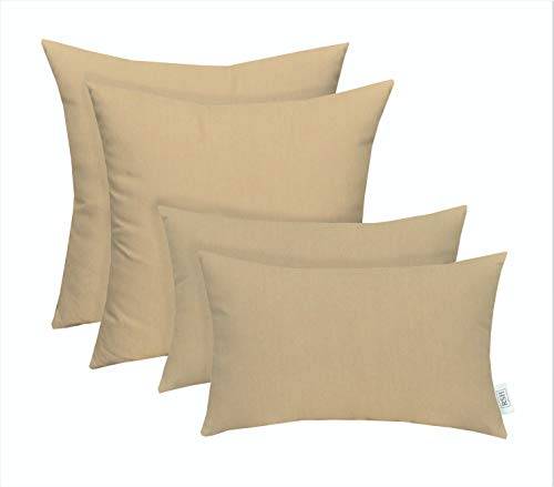 RSH Décor Set of 4 Indoor/Outdoor Square & Rectangle Lumbar Throw Pillows Made of Sunbrella Canvas Vellum (20