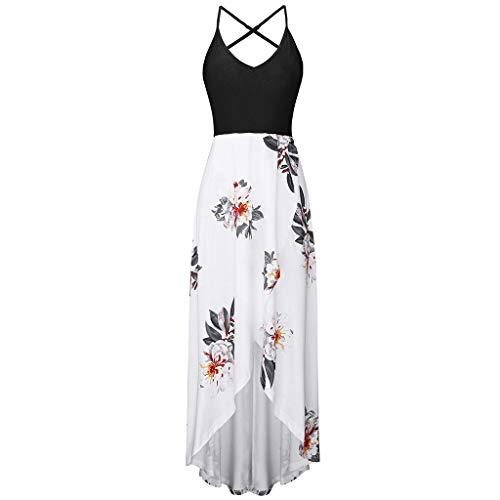 aihihe Halter Dress for Women V Neck Sleeveless Backless Summer Asymmetrical Patchwork Floral Maxi -