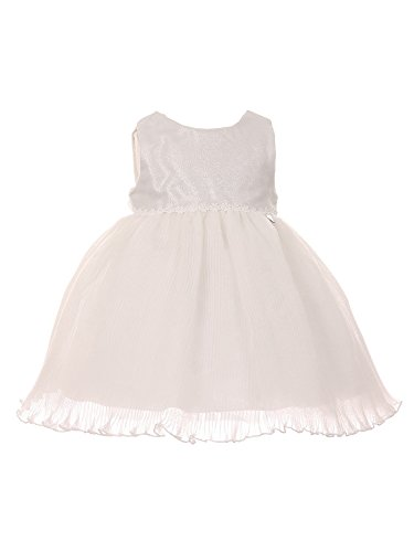 Cinderella Couture Baby Girls Silver Metallic Jacquard Lurex Organza Pleated Flower Girl Dress 18M