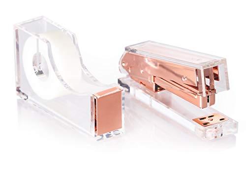 Rose Gold Acrylic Lucite Stapler & Tape Dispenser Gift Set | Premium Clear Stationery & Office Desk Accessories | Elegant, Modern, High End, Chic, Luxury Office Goods