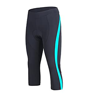 beroy (The Improved New Products) Womens 3D Padded Long Bike Pants,Cycling Pants,Bike Shorts Padding With Drawstring Cord (X-Large, 3/4 Tights - Blue)