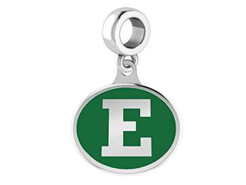 (Eastern Michigan University Eagles Drop Charm Fits All European Style Beaded Charm Bracelets)