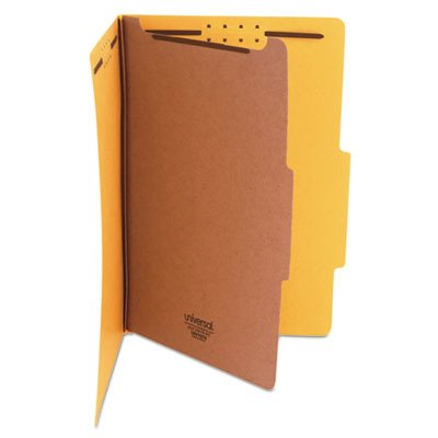 Universal 10214 Pressboard Classification Folders, Legal, Four-Section, Yellow, 10/Box