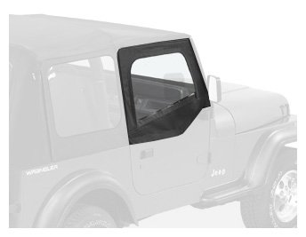 Soft Upper Doors (Bestop 53120-15 Black Denim Fabric Replacement Upper Door Skin Set for 88-95 Wrangler YJ)
