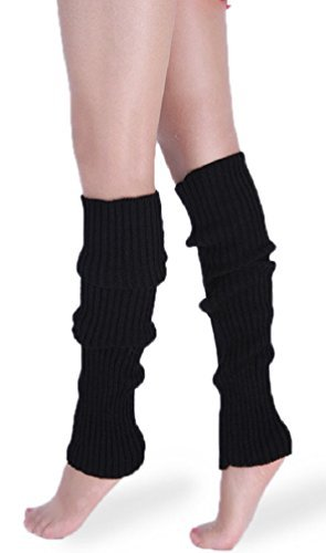 Black Knit Leg Warmers - *daisysboutique* Retro Unisex Adult Junior Ribbed Knitted Leg Warmers (One Size, Black)