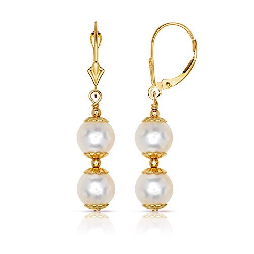 Jewelryweb 14k Yellow Gold White Freshwater Cultured Pearl Drop Lever-back Earrings for Women (3-lengths) (Double Drop/36mm)