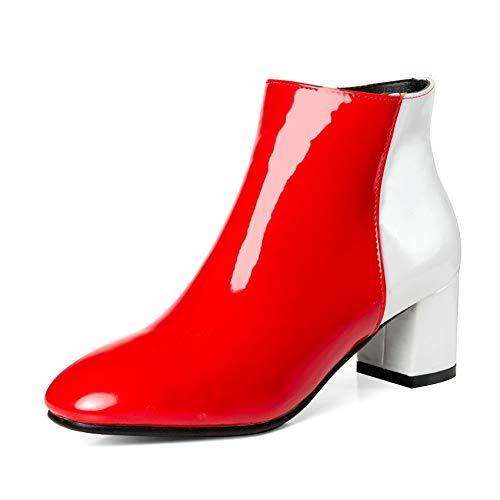 HAOLIEQUAN Frauen Ankle Stiefel Pu Leder Reißverschluss Winter Stiefel Alle Spiel Square High Heel Quadratische Spitze Größe 34-43